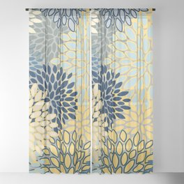 Floral Print, Yellow, Gray, Blue, Teal Sheer Curtain