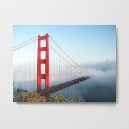 San Francisco Golden Gate Bridge | Dramatic Red with Foggy Water and Blue Sky Photograph Metal Print