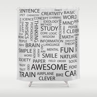 word Shower Curtains featuring Word by Inkley