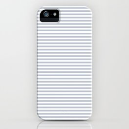 Pale Blue Grey and White Horizontal Stripes iPhone Case