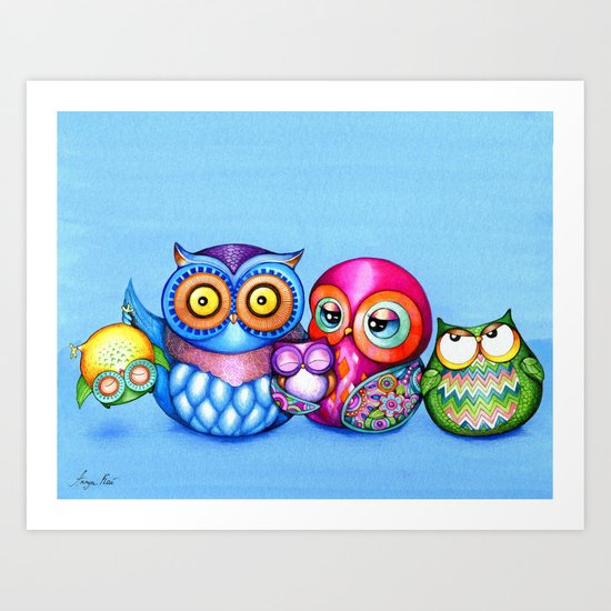 Crazy Owl Family  Art Print