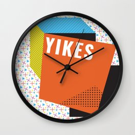 Bright Memphis Throwback Retro 1990s 80s Trendy Hipster Pattern Coral Wall Clock