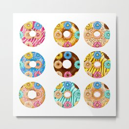 Funny Colourful Donuts over Donuts Pattern Illustration Metal Print