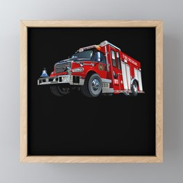 Fire truck emergency vehicles force engine Framed Mini Art Print