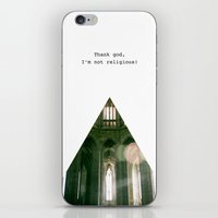religious iPhone & iPod Skins featuring Thank god, I'm not religious. by Kilian Guenthner