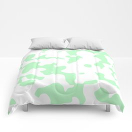 Large Spots - White and Light Green Comforters