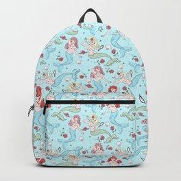 Mermaids and Roses on Aqua Backpack
