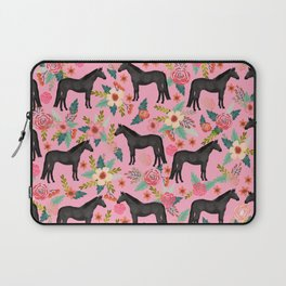 black beauty, mare, horse, horses, floral, florals, black horse, horse bedding, horse decor, cowgirl Laptop Sleeve