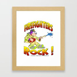FIRE FIGHTERS ROCK Vibrant Haltone Edition Framed Art Print