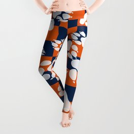 Orange and Blue Colors Paws and Checker Pattern Leggings