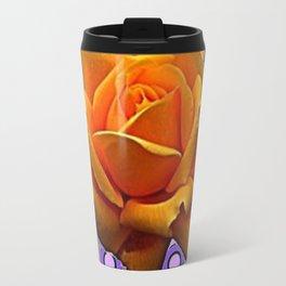 GOLDEN GARDEN ROSE MODERN ABSTRACT Travel Mug