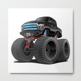 Monster Pickup Truck Cartoon Metal Print