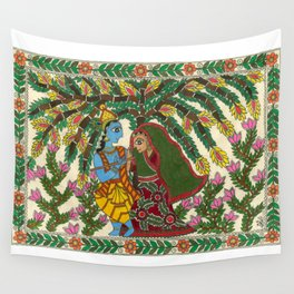 Radha Krishna Madhubani Wall Tapestry