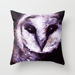 Barn Owl Painting by Lil Owl Studio Throw Pillow