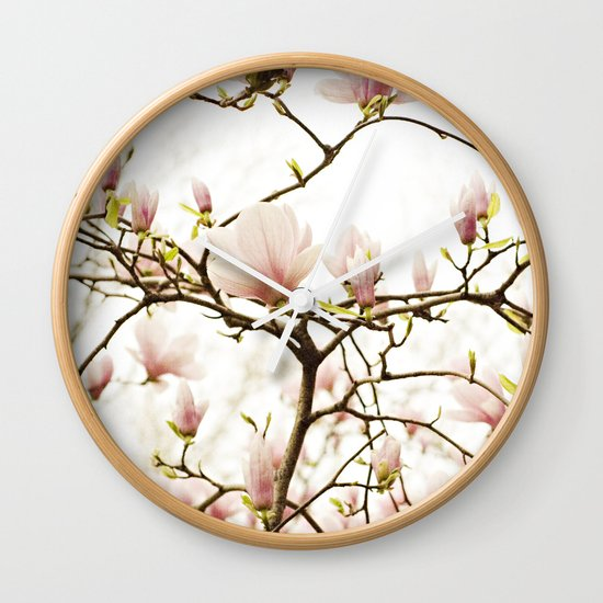 Queen For A Day Pink Magnolia Flower Wall Clock
