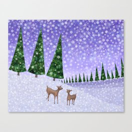 deer in the winter woods Canvas Print