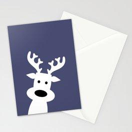 Reindeer on blue background Stationery Cards