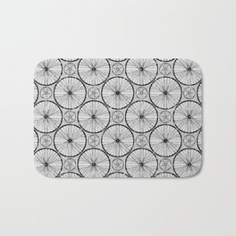 Bicycle Wheels Cycling Pattern - Grey Black Bath Mat