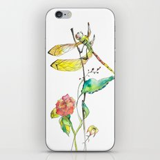 Dragonfly and Flowers iPhone & iPod Skin