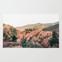 Orange mountains of Ourika Morocco   Atlas Mountains near Marrakech Rug