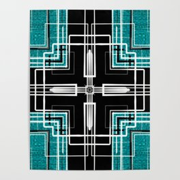 Teal Black and White Line Abstract Poster
