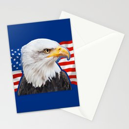 Patriotic Eagle 4th of July American Flag Stationery Cards