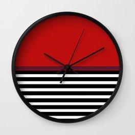 Red Blue: Black & White Stripe Wall Clock