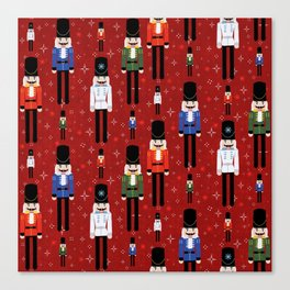 Christmas Nutcracker Soldiers Winter Pattern in Red Canvas Print