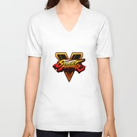 street fighter V-neck T-shirts featuring street fighter 5 by Hisham Al Riyami