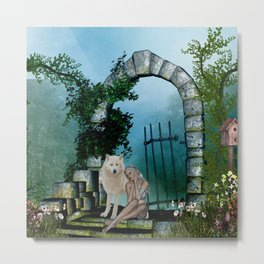 Wonderful fairy with white wolf Metal Print