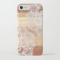 micklyn iPhone & iPod Cases featuring White doodles on blonde wood - neutral / nude colors by micklyn
