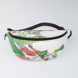 Koi Fish Pond With Large Lotus Flowers Leaves Watercolor Painting Chinese Style Fanny Pack