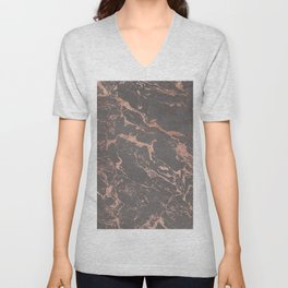 Modern Grey cement concrete on rose gold marble Unisex V-Neck