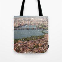 boston Tote Bags featuring boston by shannonblue