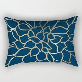 Floral Prints, Line Art, Navy Blue and Gold, Artist Prints Rectangular Pillow