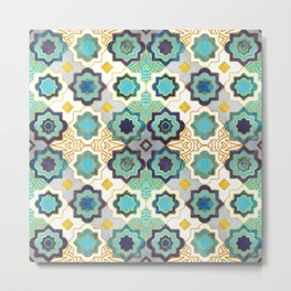 Marrakesh gold and blue geometry inspiration Metal Print
