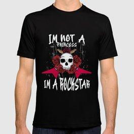 I am not a Princess I'm a Rockstar Guitar Punk Skull  Design T-shirt