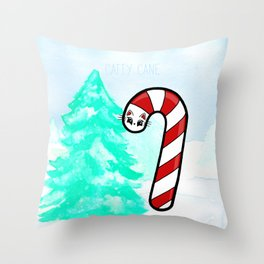 Catty Cane - Candy Cane Kitty Cat Throw Pillow
