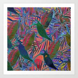 Watercolor textured seamless tropical pattern. Humming bird. Art Print