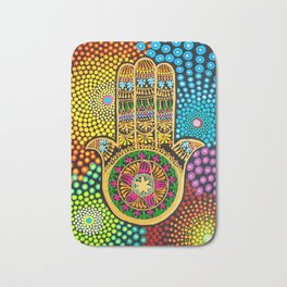 Hamsa Hand, hand of fatima, mandala, yoga art, mandala art, meditation art Bath Mat
