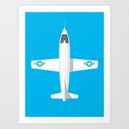 X-1 Mach Buster Rocket Aircraft - Cyan Art Print