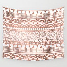 Modern rose gold leopard geometric aztec pattern Wall Tapestry