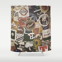 coasters Shower Curtains featuring Beer by Nicklas Gustafsson