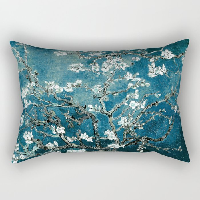 Van Gogh Almond Blossoms : Dark Teal Rechteckiges Kissen