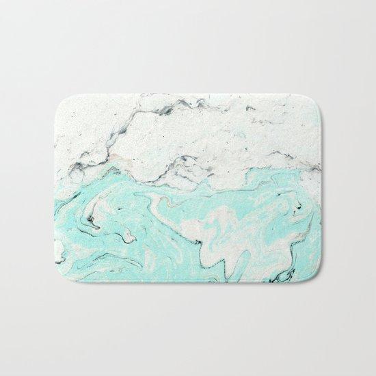 Light blue pastel marble Bath Mat