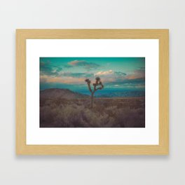 Joshua Tree Aqua Sunset Framed Art Print