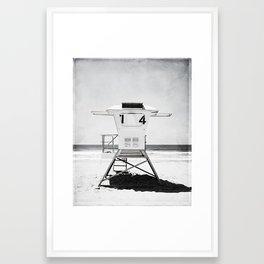 Black and White Beach Photography, Grey Lifeguard Stand, Gray Coastal Nautical Art Framed Art Print