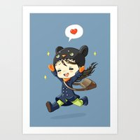 happiness Art Prints featuring Happiness by Freeminds