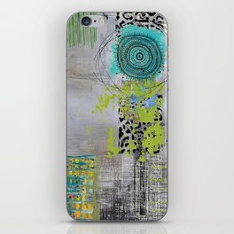 Teal & Lime Round Abstract Art Collage iPhone Skin