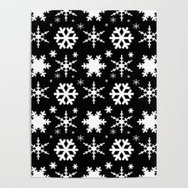 Snowflakes Black Poster
